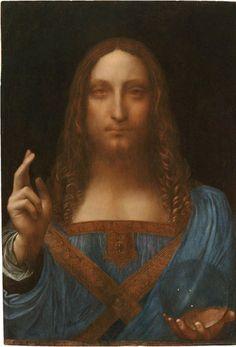 Leonardo da Vinci, Salvator Mundi (Savior of the World), c.1500, oil on a wood panel