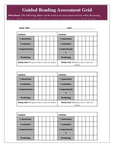Guided Reading Assessment Rubric and Student Grid for MarkingThis is a two page document that includes a comprehensive guided reading rubric an...