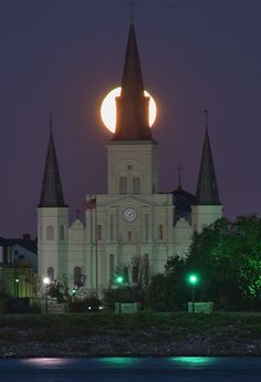 Moonset behind Saint Louis Cathedral,  New Orleans, Louisiana