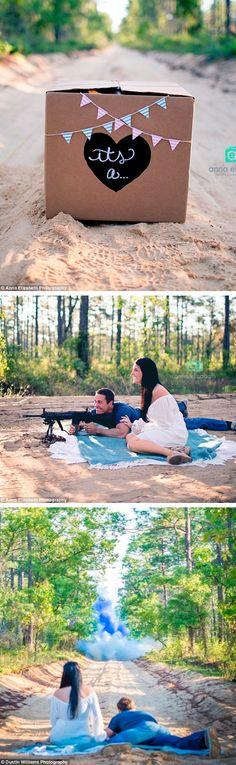 Gun Shot Gender Reveal Photo Idea