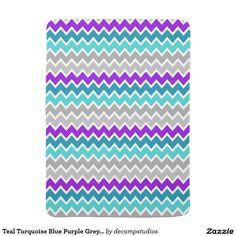 Teal Turquoise Blue Purple Grey Gray Chevron Baby Blanket