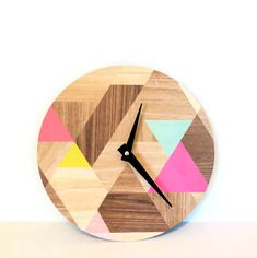 Wall Clock, Etsy Art, Modern Clock, Woodgrain Pattern, Round Face Modern Clock…