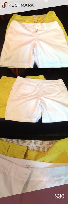"Ann Taylor Loft Shorts Bermuda Shorts 2 pair one white one yellow 29 1/2"" waist, 39 1/2"" hip full length of shorts 16 1/2, the inseam is 8"". Ann Taylor Shorts Bermudas"