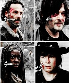 Rick (Ring Leader), Daryl (The Archer), Michonne (The Samurai) and Carl (The Kid) | The Walking Dead (AMC)