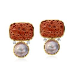 18K Gold Sponge Coral, Diamond, and Fresh Water Pearl Earrings Designed By The Mazza Company
