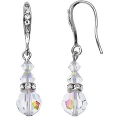 Crystal Avenue Silver-Plated Crystal Graduated Linear Drop Earrings ($21) ❤ liked on Polyvore featuring jewelry, earrings, multicolor, swarovski crystal earrings, swarovski crystal drop earrings, crystal drop earrings, tri color earrings and beaded drop earrings