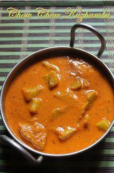 YUMMY TUMMY: Easy Chow Chow Kuzhambu Recipe - Chayote Kuzhambu Recipe
