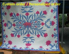"""***SALE*** Christmas & New Year shopping season! Today-Jan 15, 2017 15% off for custom order (Use Coupon code """"15CUSTOMORDER"""") 20% off for finished quilt (Use Coupon code """"20FINISHEDQUILT"""") Free! A pair of Cotton quilt oven-glove if purchase more than $ 999 https://www.etsy.com/shop/JangThaiHandicrafts Thanks for shopping.  ************************************   =ALOHA!!! Traditional Hawaiian style=  Hawaiian Quilts for custom order/Personalized quilt. Comforter, duvet, bedspread,Two tone of…"""