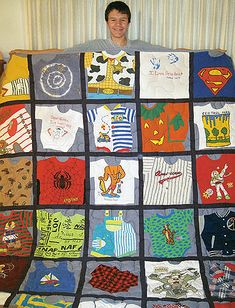 3 Ways to Make a Memory Quilt from Baby Clothes - Baby Clothes Crafts , 3 Ways to Make a Memory Quilt from Baby Clothes 3 Ways to Make a Memory Quilt from Baby Clothes - Quilting Digest baby. Quilt Baby, Onesie Quilt, Baby Memory Quilt, Memory Pillows, Memory Quilts, Baby Clothes Blanket, Old Baby Clothes, Quilts From Baby Clothes, Baby Outfits