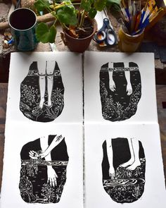 My new little rockpool series will be coming to Hebden Bridge with me on Saturday! @hebdenbridgeprintfair  #linocut #print #printmaking…