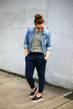 DIY sweatpants - the Hudson Pant pattern with jean jacket and sneaks