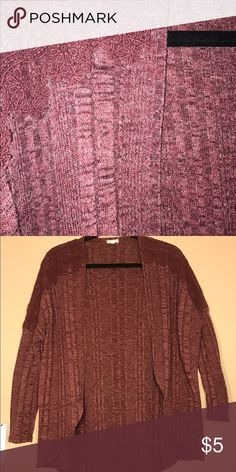 Wine colored, lace shoulder cardigan This cardigan goes great with the lacy tank also posted in my closet. Unlike my other cardigans, this one has a wing affect; it's loose from the armpit. Tops