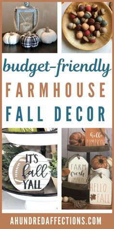 If you love farmhouse decor and are looking for budget-friendly ways to decorate for all, take a look here! You'll love these frugal decor ideas that are cheap, but don't look it! Come see how to get the looking you want this fall, even with a tight budget! #falldecor #budget-friendly #farmhouse Autumn Decorating, Decorating On A Budget, Farmhouse Style Decorating, Farmhouse Decor, Diy On A Budget, Tight Budget, Diy Craft Projects, Diy Crafts, Wooden Pumpkins