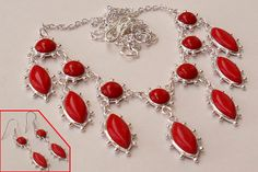 GENUINE NATURAL RED CORAL GEMSTONE 925 SILVER EARRINGS NECKLACE SET B92628