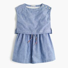 We took our much-loved tiered dress silhouette and made it in our lightweight, indigo-dyed linen-cotton—so it's perfect for picnics, pool days and backyard BBQs. And don't miss cute details like shoulder buttons and a colorful drawcord. <ul><li>Fit-and-flare silhouette.</li><li>Falls above knee.</li><li>Linen/cotton.</li><li>Back button closure.</li><li>Partially lined.</li><li>Machine wash.</li><li>Import.</li></ul>