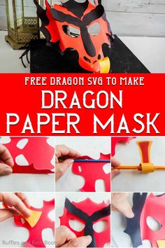This is such a FUN kids craft! This dragon paper mask is so quick to work up--and the cutting is done with your Cricut or Silhouette with the free dragon SVG. Grab the easy and fun paper dragon mask tutorial here! Fun Activities For Kids, Fun Crafts For Kids, Crafts To Make, Paper Plate Masks, Paper Mask, Kindergarten Crafts, Preschool Crafts, Construction Paper Crafts, Dragon Mask