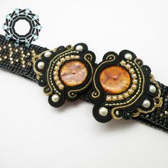Woven beaded belt with soutache | Tender December