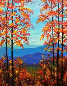 Ideas Painting Ideas Landscape Canvases - Trend Topic For You 2020 Fall Canvas Painting, Canvas Painting Landscape, Winter Painting, Fall Paintings, Landscape Nursery, Painting Trees, Simple Acrylic Paintings, Paint And Sip, Mountain Paintings