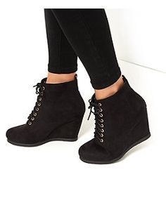 Black Lace Up Wedge Boots    New Look