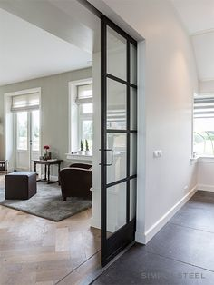 Black framed interior sliding door