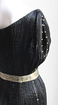 another side of FORTUNY 1920's MARIANO FORTUNY pleated black silk DELPHOS gown |