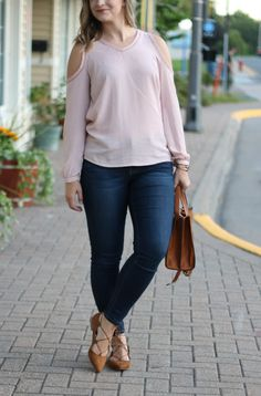 Pink Cold Shoulder Blouse for Fall with Lace Up Flats (under $25!)