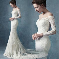 bridal gown on sale at reasonable prices, buy Vestido De Noiva Sereia Vintage Lace Mermaid Wedding Dress Long Sleeve Sexy Bridal Gowns Chapel Train China from mobile site on Aliexpress Now! White Lace Wedding Dress, Pink Wedding Dresses, Lace Mermaid Wedding Dress, Mermaid Dresses, Bridal Dresses, Wedding Gowns, Dress Lace, Boho Vintage, Dresses Short