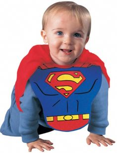 Superman Bib and Cape Hero Costume - This is a licensed DC Comics Superman baby bib and cape set. The bib is a poly-foam chest piece and the cape is attached. Not only is this costume great for Halloween or other costume parties, but it can be used on a day-to-day basis. #superhero #superman #infant #calgary #yyc #costume