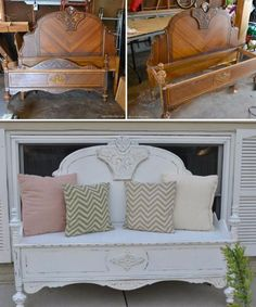 8 stunning ideas for turning old headboards into a bench with rustic charm Refurbished Furniture, Repurposed Furniture, Furniture Makeover, Painted Furniture, Old Headboard, Headboard Benches, Benches From Headboards, Furniture Projects, Diy Furniture