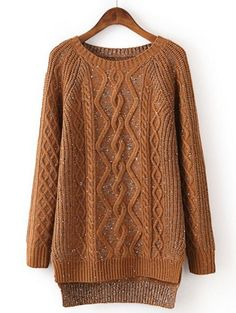 Fast Shipping Brown Long Sleeve Dipped Hem Cable Knit Sweater   Fashion4you - Clothing on ArtFire