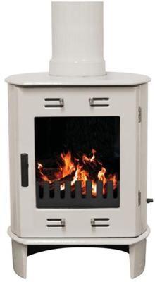 Dante Cream Enamel Carron Log Burning Stove - FREE PIPE 5Kw Wood Burner Enameled