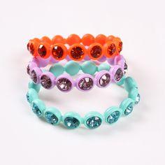 19cm Fashion Candy Color Inlaid Drill Bike Bangle Chain Bracelet