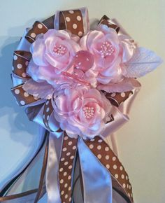 Brown and Pink Baby Shower Corsages by littlecreationz on Etsy, $25.00