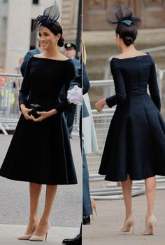Meghan the duchess of sussex looking lovely in a custom dior navy midi dress and stephen jones swirl fascinator as she attended the royal air force centenary celebrations in london july 2018 meghan markle and prince harry attend the royal albert hall Meghan Markle Outfits, Meghan Markle Dress, Meghan Markle Stil, Prinz Harry, Prince Harry And Megan, Princess Meghan, Royal Clothing, Dress Vestidos, Royal Dresses