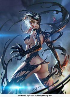 She Venom by ji zhang Bd Comics, Comics Girls, Venom Girl, Wolf, Marvel Cosplay, Marvel Girls, Art Station, Halloween Art, Dark Art