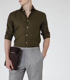 Mens Green Linen Shirt - Reiss Perdie