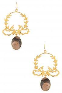 Gold Plated Jasper Stone Drop Earrings #clothes #varnikaarora #designer #shopnow #happyshopping