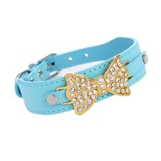 cat collar,Pikolai cat Dog Puppy Cat Collar Bling Crystal With PU Leather Bow Necklace New *** Tried it! Love it! Click the image. : Cat Collar, Harness and Leash