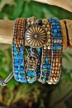GEMINI 4 Wrap Handwoven Leather Bracelet/BELT > White Turquoise/Picture…