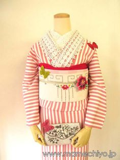 Lined kimono Candy * stripe (Peach)