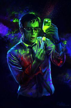 """DeviantArt: Reagent by qzkills. Lovecraft tale """"Herbert West: Re-animator"""". This Herbert West looks very much like the one from the 1985 movie, played by Jeffrey Combs. Horror Icons, Sci Fi Horror, Horror Movie Posters, Arte Horror, Movie Poster Art, Creepy, Evil Dead, Re Animator, Arte Sci Fi"""