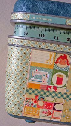 Find some cute SU paper and stamps. Pull out that bedraggled but beloved train case and make it fabulous again. Use it to store makeup and costume jewelry. A great memory piece!