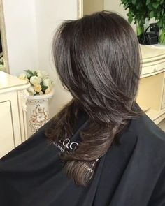 Pin on long dark hair Pin on long dark hair Haircuts For Long Hair With Layers, Haircuts For Medium Hair, Long Layered Haircuts, Medium Hair Cuts, Medium Hair Styles, Short Hair Styles, Layered Hairstyle, Haircut For Medium Length Hair, Haircut Layers