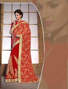 Red Georgette Wedding Saree 65807  #WeddingSarees #OnlineShopping