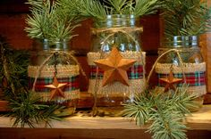 Rustic set of 3 Mason Jars with Barn Stars and Burlap for your holiday decor