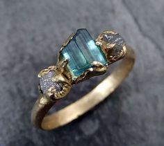LOVE. Raw blue green Indicolite Tourmaline Diamond Gold by byAngeline