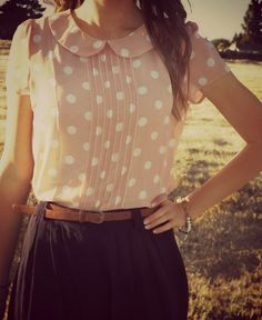 Darling peach polka dots and belted skirt