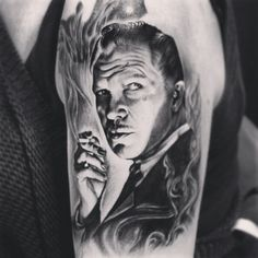 Vincent Price tattoo by Aliz Várhegyi at Private Tattoo, Bournemouth.