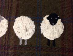 5 Sheep appliqué tweed boudoir cushion by TeacupTweed on Etsy