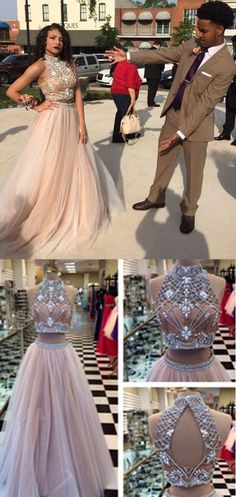 two piece prom dresses,High Neck Champagne prom dresses Backless prom dresses Tulle prom dresses A-Line Two Piece Prom Dress with Rhinestone